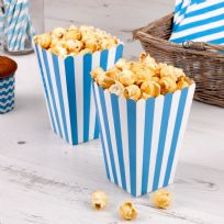 Carnival Blue Popcorn Boxes - Stripes (8)